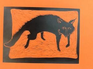 Bev Mitchell-Symons--Fox-Linoprint-30x22cm
