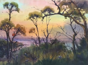 Diana Edwards--Spirit of the Island Red Rocks-water colour