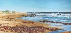 Ellen Palmer Hubble-Pink Seaweed Cape Paterson-Oil on canvas-100x50cm
