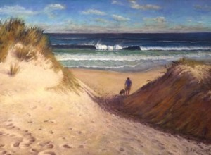 Judy Soerink--A Man and His Dog-pastel on colour fix paper-64x44cm