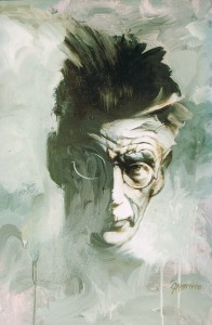 Ken-Griffiths--Samuel Beckett. Oil on acrylic on board. Private collection Inverloch